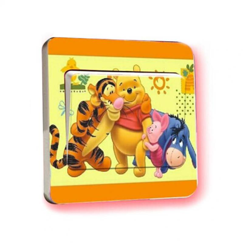 1 pcs New small Winnie the Pooh Light Switch Stickers childrens art mural poster detachable Christian Wall Decals