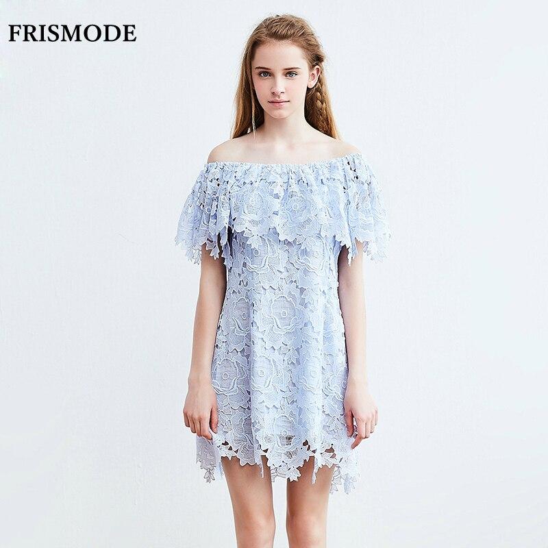 FRISMODE Young Ladies Cute Lace Dress Sky Blue White Slash ...