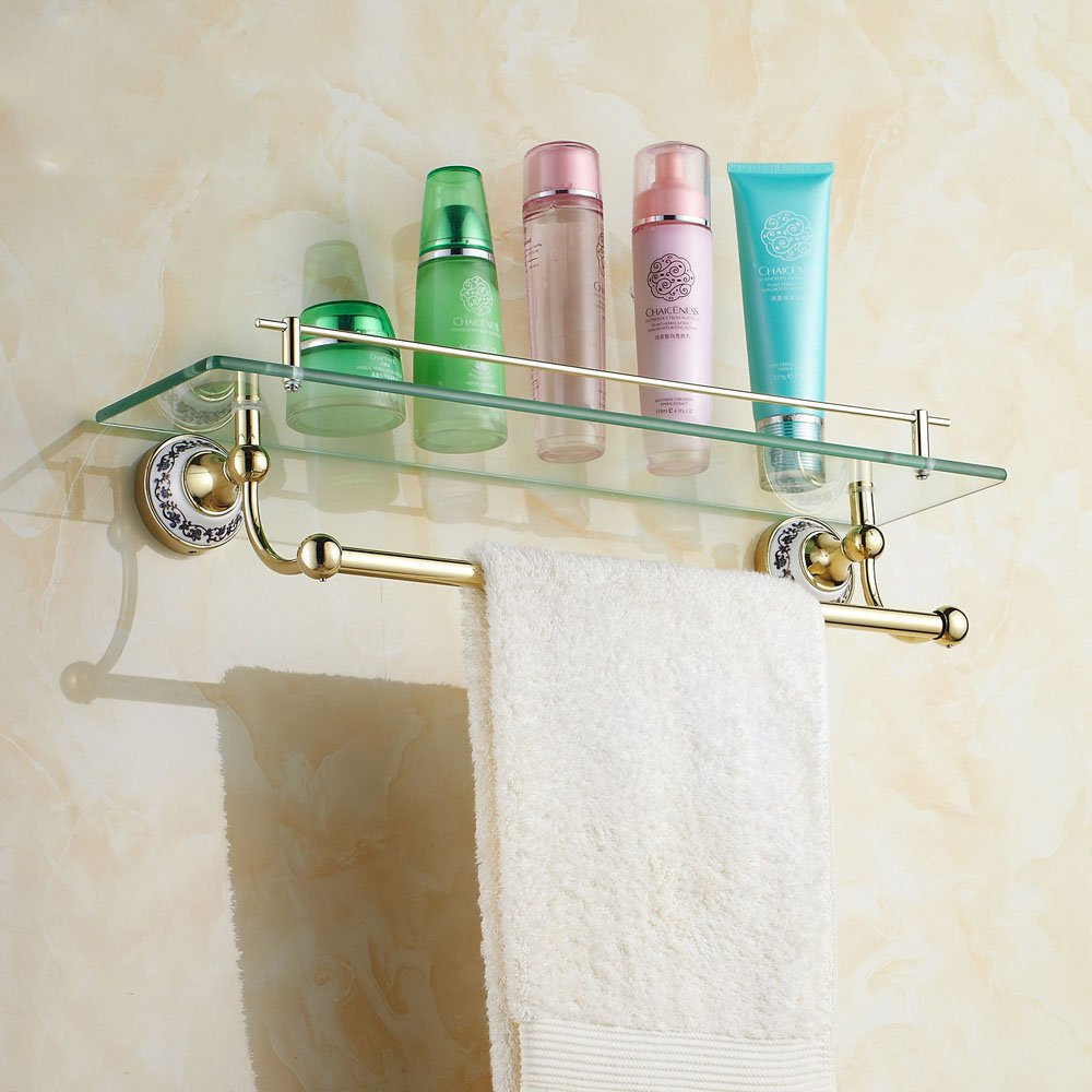 Europe style Golden glass shelf bathroom dress shelf holder golden ...