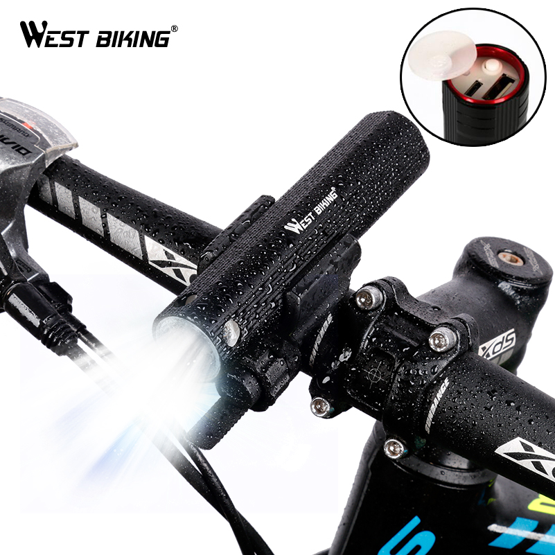 WEST BIKING Bicycle Lights Power Bank Waterproof USB Rechargeable Bike Light Flashlight 2000mAh 3 Modes MTB Bikes Cycling Lights