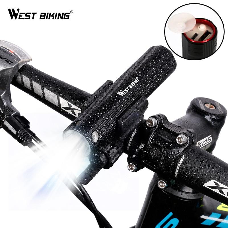 WEST BIKING Bicycle Lights <font><b>Power</b></font> Bank Waterproof USB Rechargeable Bike Light Flashlight 2000mAh 3 Modes MTB Bikes Cycling Lights