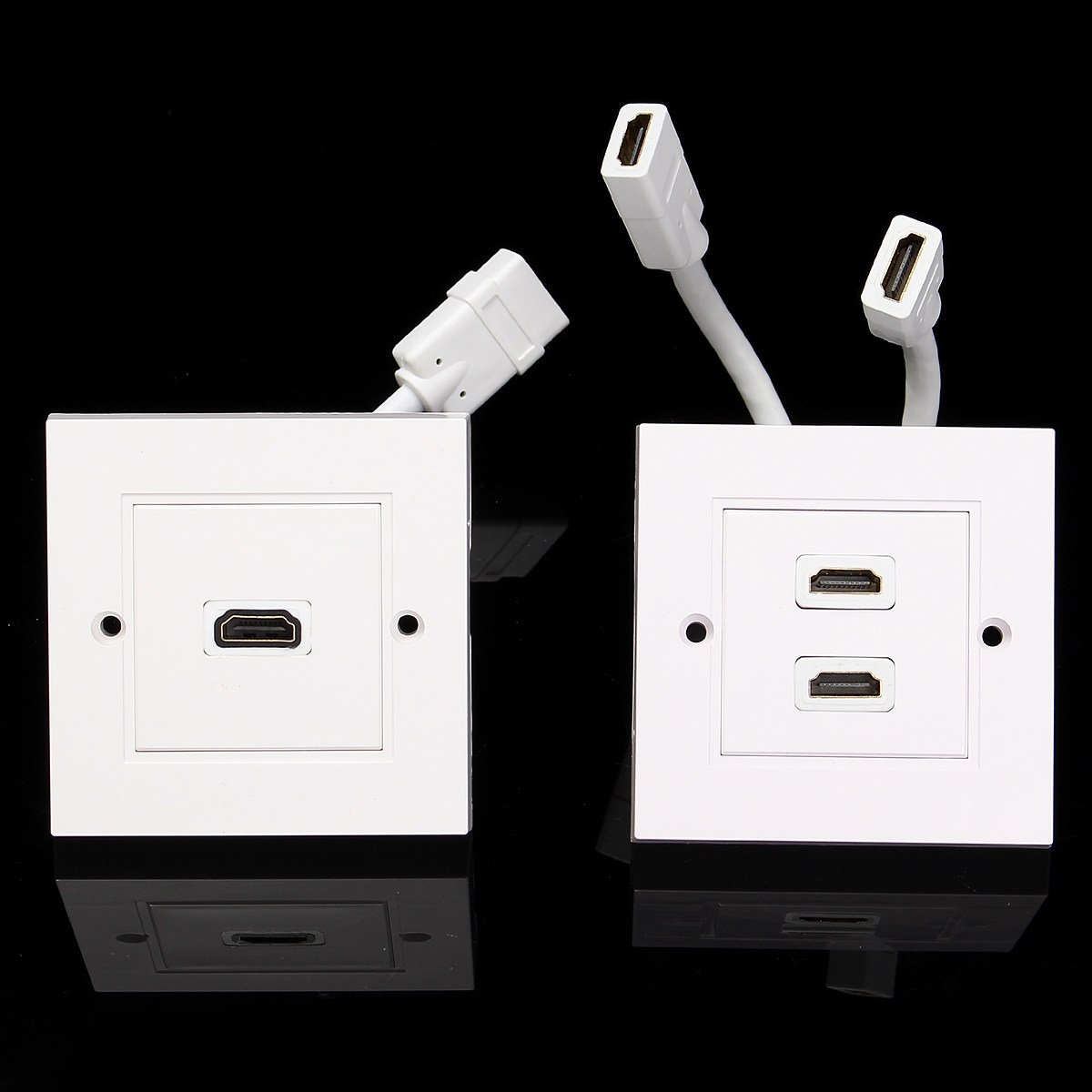 86 x 86mm HD HDMI Wall Panel UK British Single Port / Dual Port With Short Cable Video Plug Charger Electrical Socket