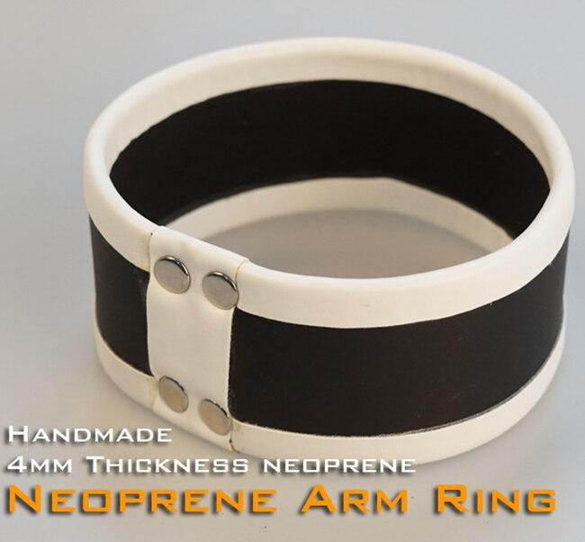 (RD1124)Luxury Customize Handmade 4mm Thickness Neoprene Arm Ring White Fetish Wear