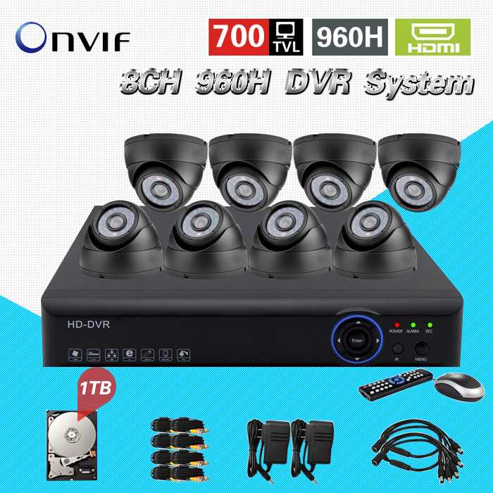 700TVL 8CH CCTV System HDMI 1080P DVR NVR kit 8pcs dome indoor Home Surveillance Security System 8ch 1tb hdd hard drive CK-128 система видеонаблюдения ngtechnic 8 8 cctv 8 2 dvr 1008 d626bcm 700 c