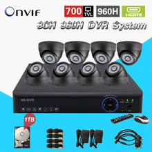 700TVL 8CH CCTV System HDMI 1080P DVR NVR kit 8pcs dome indoor Home Surveillance Security System 8ch 1tb hdd hard drive CK-128