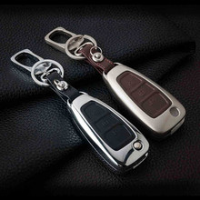 цена на Zinc alloy+Leather Car Styling Remote Key Cover Case For Ford Focus 3 4 Mondeo MK3 MK4 Kuga Escape Edga 2017 2016 2015 2014 2013