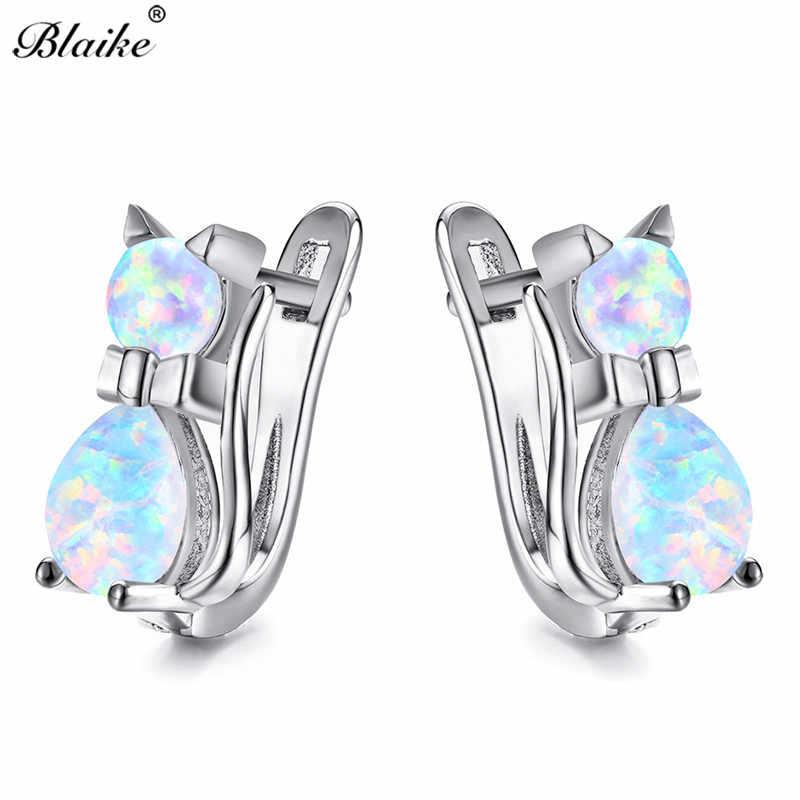Blaike Cute Little Cat Silver Rose Gold Filled Hoop Earrings For Female  White Blue 6015d60abf11
