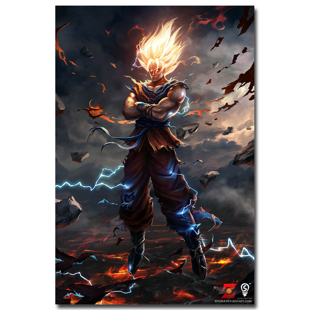 Dragon ball z art silk fabric poster print 13x20 24x36 for Dragon ball z living room