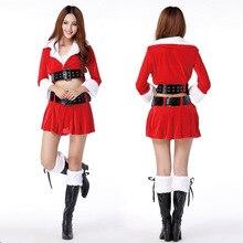 Barato de Las Mujeres Traje de Navidad Femenina Solapa tops sexy Mini Rojo de la Navidad Trajes de Cosplay Falda Envío Gratis c1052