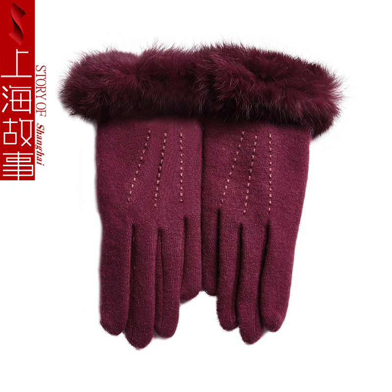 winter warm gloves for women high quality fleece thicken wool mittens gloves woman wrist rabbit fur full finger guantes