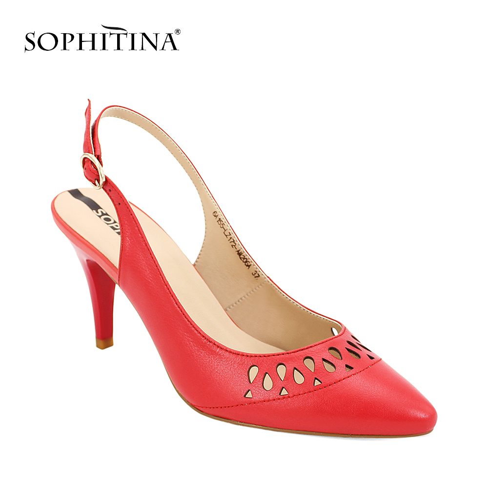 SOPHITINA Brand 2019 Quality Sandals Sheepskin Buckle Back Strap Thin Heel Shoes Woman Solid Classic Office