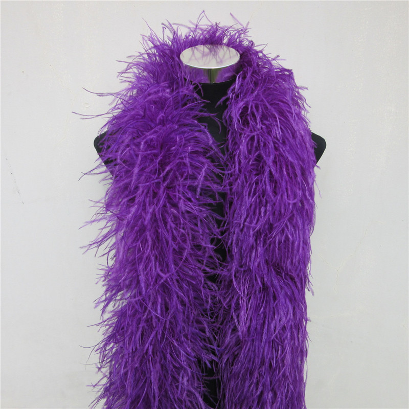YY tesco 2m Long High Quality 6 layer purple Ostrich Feather Boa for Wedding Focus Carnival Dress Ornaments/Shawls/Crafts