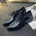2016 black grey patent leather oxford shoes for women pointed toe flats handmade shoes woman size 8 fur vintage PU material fur