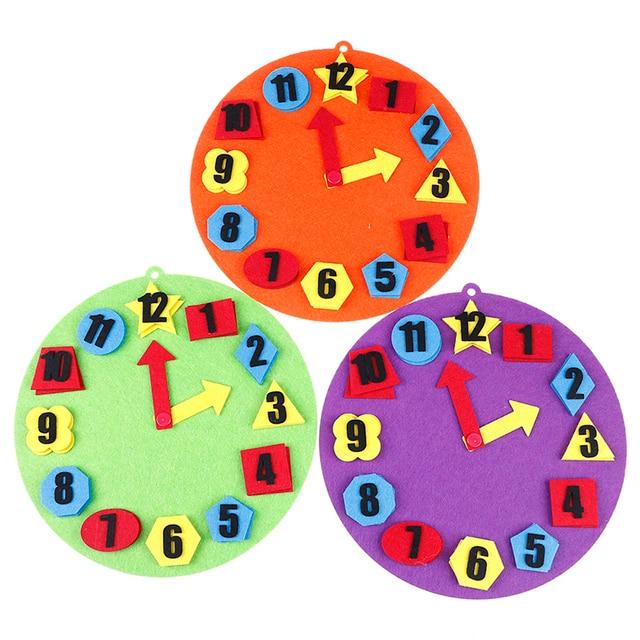 DIY no tejido educación temprana Montessori material de enseñanza matemáticas rompecabezas juguetes reloj Digital juguetes de ayuda cognitiva para niños