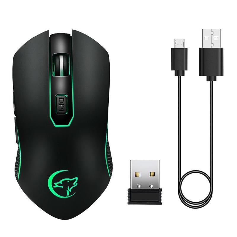 Ratón inalámbrico Usb recargable ratones cliente botones ratón de la computadora 2400 DPI ratón de juegos de 2,4G óptico para PC portátil