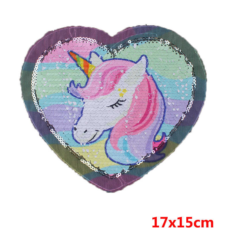 f8a0644dd6 Prajna Unicorn Sequined Patches Cartoon Style Rainbow Reversible Sew On  Patch For Clothing DIY Applique T-shirts Jackets Decor