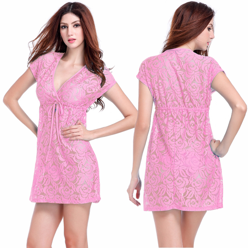 Comfort And Sexy 2016 Adjustable Tie Leisure Loose Big Women Plus Size Lace Dress S.M.L.XL.XXL