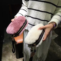 Real Lambswool Fur Bags Genuine Leather Women Day Clutch Bags Small Shoulder Purse Eevening Party Ladies