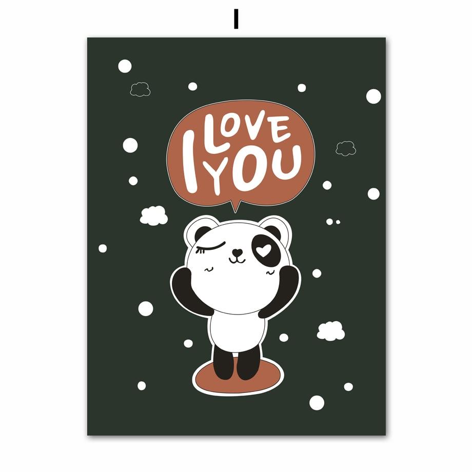 Nordic Cartoon Panda Elephant Canvas Painting Wall Art Print