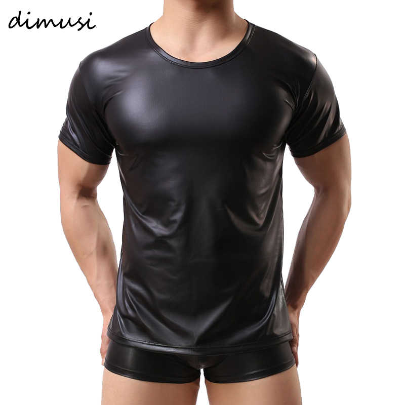 DIMUSI PU Leer T-shirts Mannen Sexy Fitness Tops Gay T-shirt Tees Heren stage T-shirt O-hals Sexy Men Casual Kleding PA070