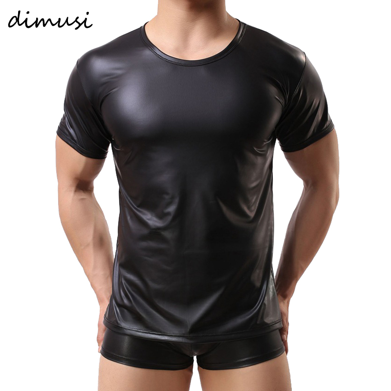 DIMUSI PU Leather T Shirts Men Sexy Fitness Tops Gay T-shirt Tees Mens Stage T-shirt O-Neck Sexy Men Casual Clothes PA070