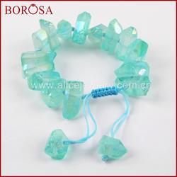 BOROSA дизайн синий кристалл кварца регулируемые браслеты для женщин, новый Druzy кристалл кварца очарование браслеты для ювелирных изделий 2018
