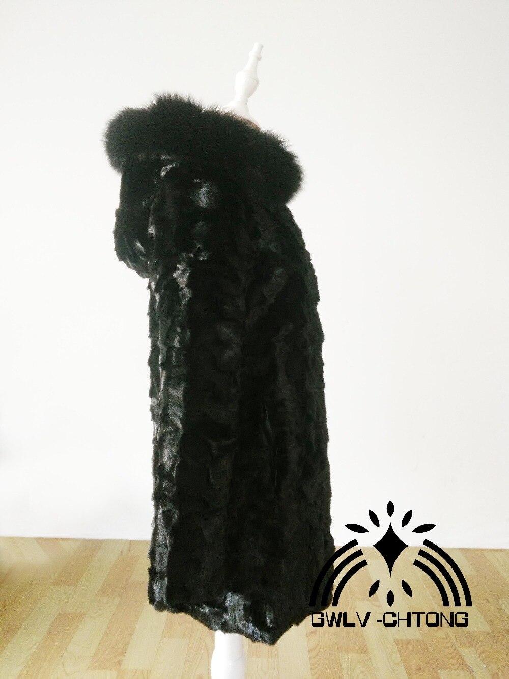 Tailles Les De Capuche Mode Manteau Vison Longue Veste Couleur Naturel Outwear Toutes Renard Nouveau Véritable En Fourrure Personnalisé Noir Avec Femmes HFwA0RqI