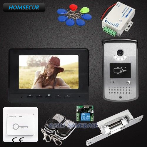 HOMSECUR 1V1 7inch Wired Video Door Entry Security Intercom with Strike Lock for Home Se ...