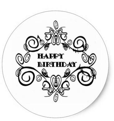 1 5inch Black And White Elegant Happy Birthday Classic Round Sticker