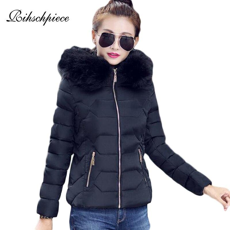 Rihschpiece Winter Plus Size 3XL Fur Hoodies Jacket Women   Parka   Cotton Padded Coat Warm Short Casual Jackets RZF1516