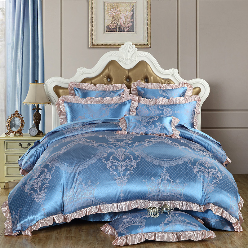 luxury jacquard silk and and cotton blue duvet cover set set for king queen size bedding. Black Bedroom Furniture Sets. Home Design Ideas