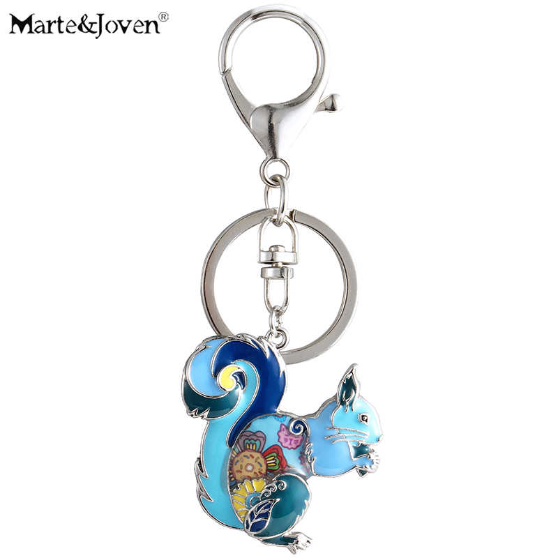 Marte&Joven Cute Squirrel Gift Keychains for Women Girls Unique Multicolor Enamel Squirrel Jewelry Keyrings