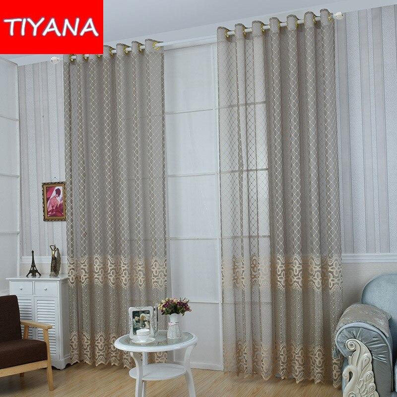 moderno simple encaje cortina para saln floral jacquard a cuadros gris ag ciegos ventana de
