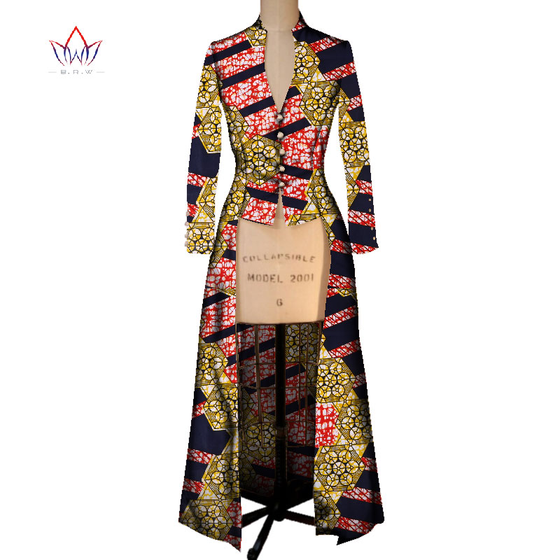 2017 Summer New African Coat for Women   Trench   Women Maxi Outwear   Trench   Coat Womens Dashikis Brand Clothing 6XL BRW WY2405