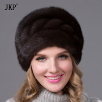 Fashion Russian winter fur hat for women genuine real mink fur cap with flower style