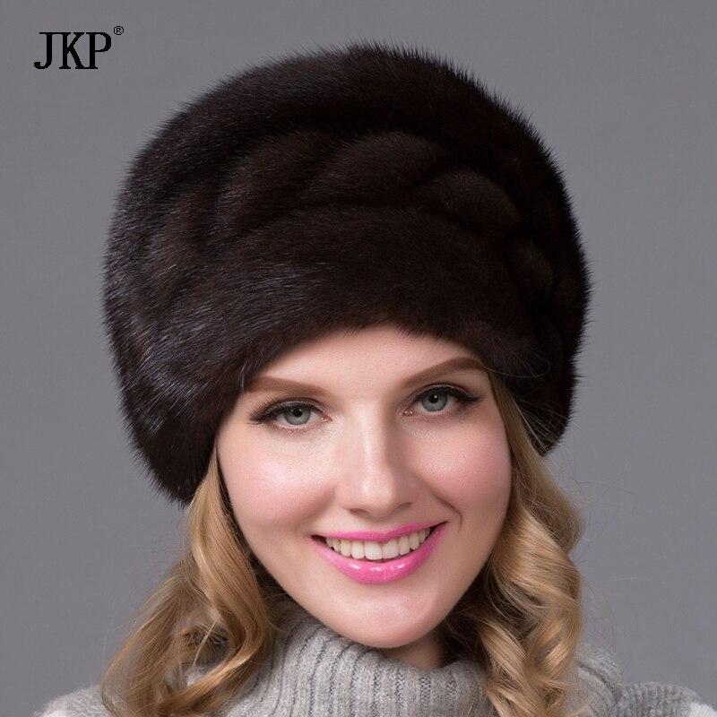 Moda Russa chapéu de pele de inverno para as mulheres estilo genuíno real mink fur cap com flor