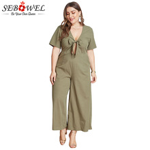 SEBOWEL Plus Size Sexy Bowknot Deep V Neck Jumpsuits Woman Short Sleeve Summer Female Big Pink /Army Green Jumpsuit Rompers
