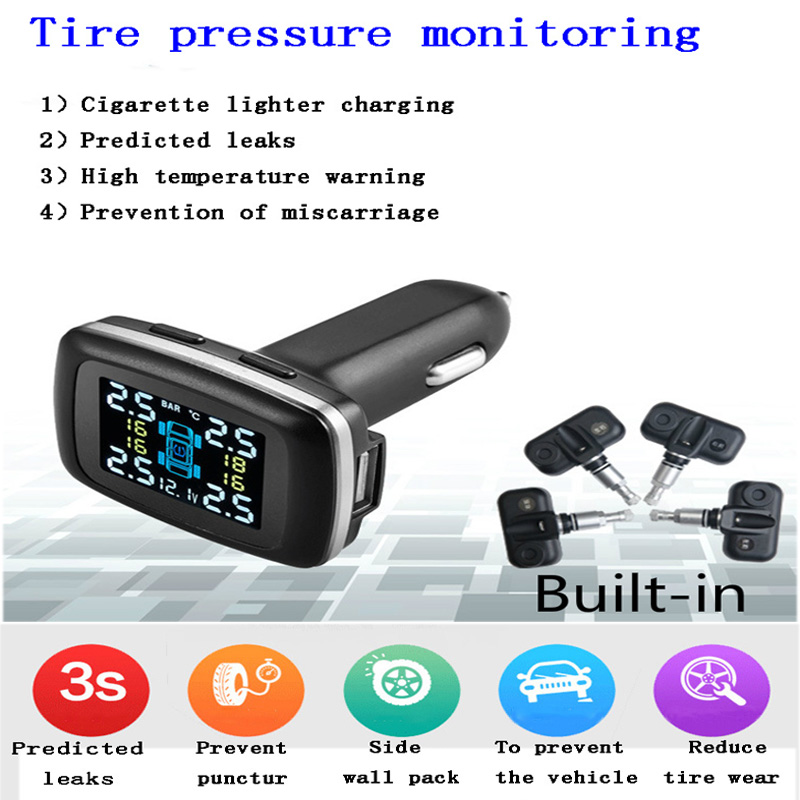 24V Car TPMS Wireless Tire Pressure Alarm Monitoring System USB with Four Built-in Sensor Cigarette Lighter LCD Digital Display digital wireless security kit four channel available monitoring