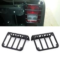 1 Pair Black Light Guard Rear Tail Light Cover For 2007 2017 Jeep Wrangler Back Lamps