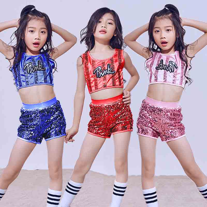 Hip Hop Dance Costume Girls Children'S Day Performance Pink Sequins Vest Shorts Kids Jazz Costumes Street Dance Clothing DN1778
