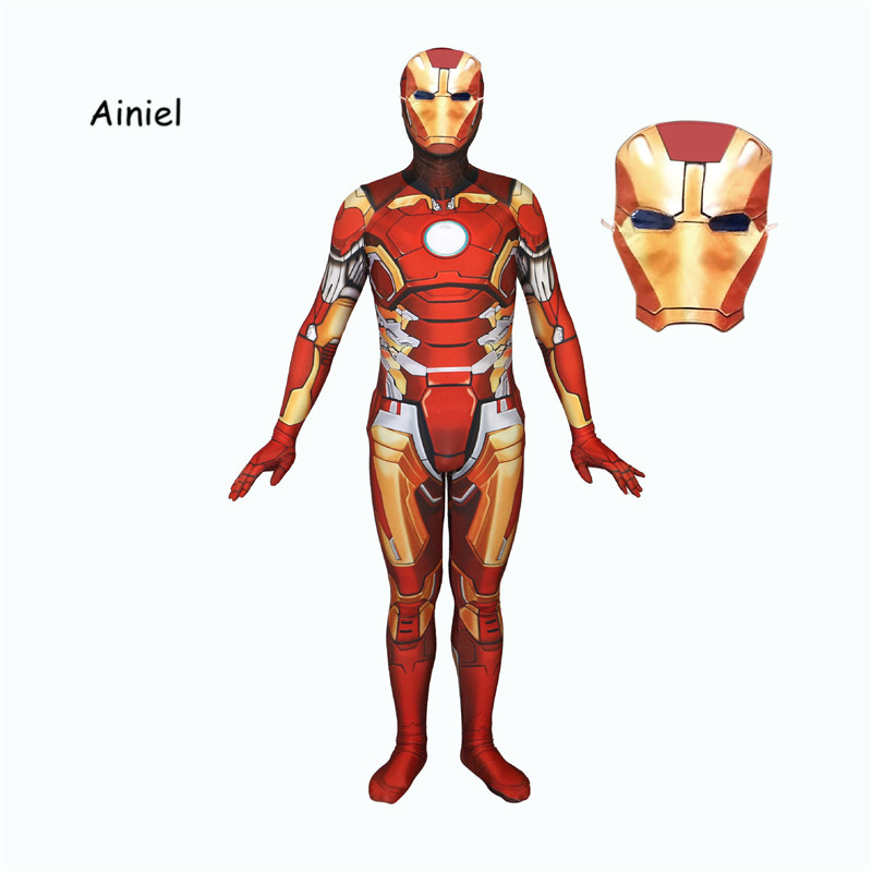 Ainiel  Kids Adult 3D Printed Superhero Iron man Cosplay Costume Lycra Spandex Superman Cosplay Zentai Holloween Bodysuit Suit