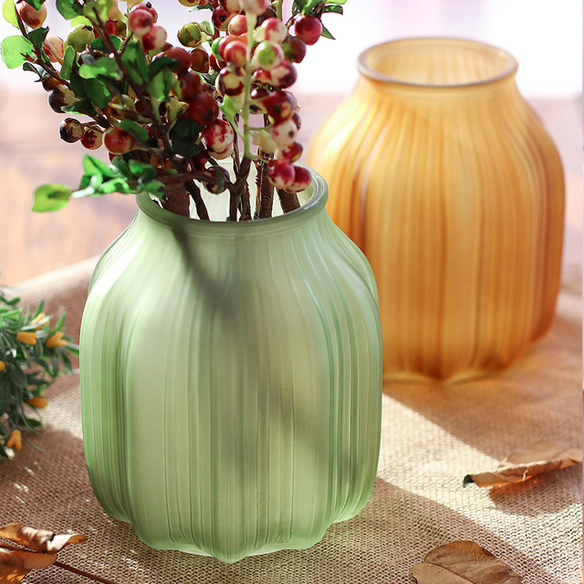 European Colored Glass Vases Living Room Decoration Vintage Frosted