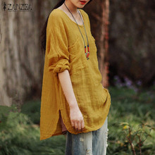 Women Blouses Tops 2018 Autumn Casual Loose Oversized O Neck Long Sleeve Pockets Cotton Solid Shirts Plus Size Elegant Blusas