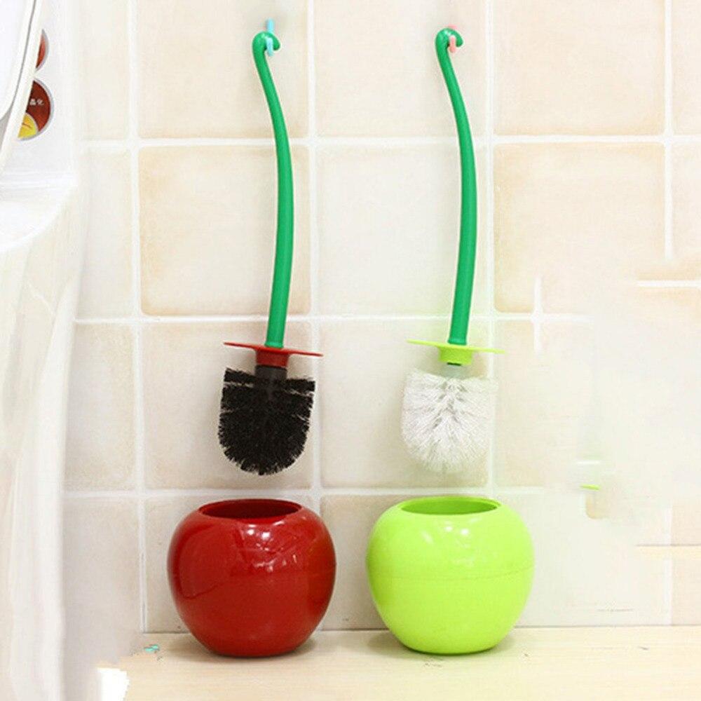 Cereza Escobillero inodoro de plástico cepillo de limpieza cepillo plástico necesidades diarias sello diseño radiante mango FreeShip