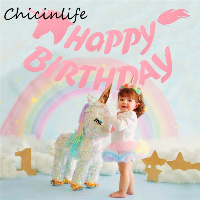 Chicinlife 1set Unicorn Happy Birthday Bunting Banner Rainbow Unicorn Party Baby Shower Decoration Girls Birthday Party Supplies Banners, Streamers & Confetti