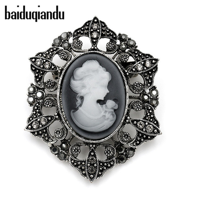 baiduqiandu brand Vintage Style Crystal Cameo Brooches for Women in Antique Silv
