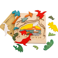 OnnPnnQ 2017 Hot Puzzle Kids Children Educational Wooden Toys Multilayer Cartoon 3D Animal Puzzle Baby Gift