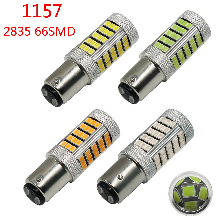 2Pcs 1157 BAY15D P21/5W Car 66 SMD 2835 LED Vehicle Car Fog Driving Lights Daytime Running Light DRL Bulb Lamp New Free Shipping