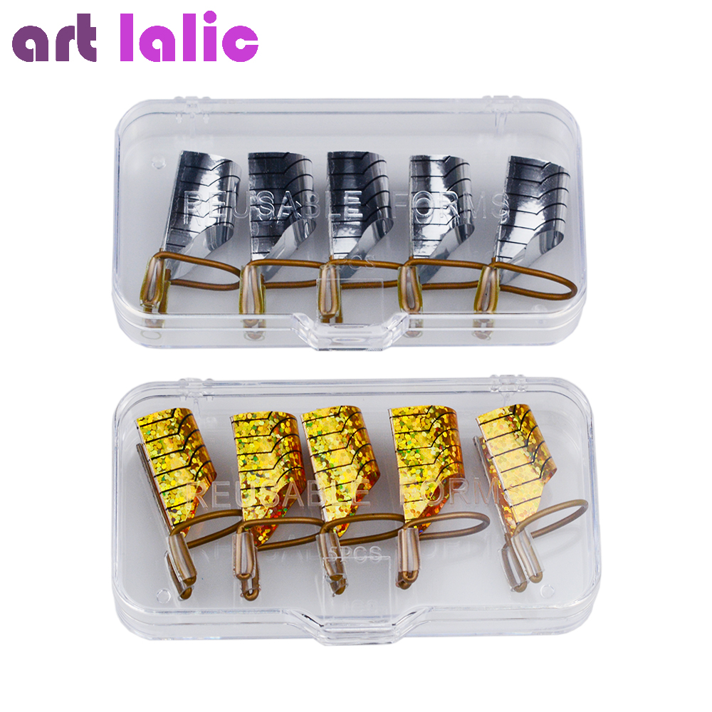 5pcs/set Nail Art Reusable Nail Forms for UV Gel Silver/Gold Manicure Nail Tips Extension Guide Builder Tools Kit ...
