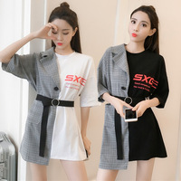 kpop BLACKPINK 2019 summer new fake two piece white dress female trend splice plaid dresses women streetwear Harajuku clothes